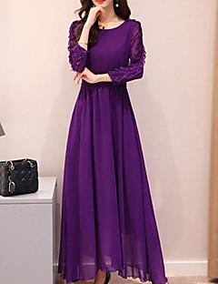 Χαμηλού Κόστους Γυναικεία Φορέματα-Γυναικεία Βασικό Θήκη / Swing Φόρεμα - Μονόχρωμο Μακρύ