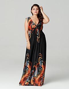 Χαμηλού Κόστους Μακριά φορέματα-Γυναικεία Μεγάλα Μεγέθη Μπόχο Swing Φόρεμα - Αφηρημένο, Εξώπλατο / Στάμπα Μακρύ Βαθύ V