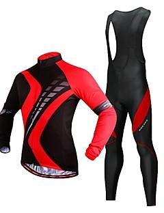 billige Sykkelklær-WOSAWE Sykkeljersey med bib-tights / Sykkeljakke / Tights med seler til sykling - Svart / Rød Sykkel Tights Med Seler, 3D Pute, Refleksbånd Polyester / Elastisk