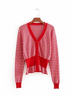 baratos Suéteres de Mulher-Mulheres Diário Sólido Manga Curta Padrão Carregam, Decote Redondo Algodão Vermelho S / M / L