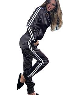 billige Løbetøj-Dame Lomme Træningsdragt - Sort, Lilla, Grøn Sport Stribe Jakke / Bukser Yoga, Løb, Fitness Langærmet Sportstøj Åndbart Elastisk / Vinter