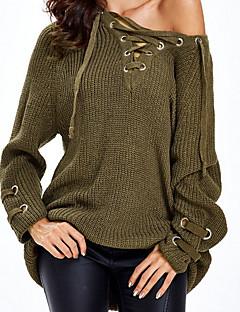 baratos Suéteres de Mulher-Mulheres Básico Manga Longa Delgado Longo Pulôver - Sólido, rasgado / Decote em V Profundo / Outono