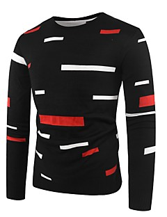 baratos Suéteres & Cardigans Masculinos-Homens Básico Pulôver - Listrado / Estampa Colorida