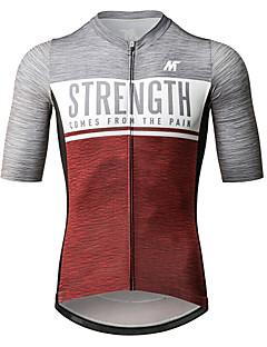 billige Sykkelklær-Mysenlan Herre Kortermet Sykkeljersey - Rød + Gray Sykkel Jersey Polyester / YKK-glidelås