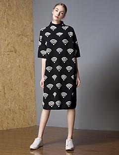 baratos Suéteres de Mulher-Mulheres Activo Pulôver - Quadriculada, Flor / Bordado