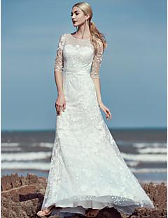 billiga Brudklänningar-Trumpet / sjöjungfru Prydd med juveler Svepsläp Spets / Tyll Bröllopsklänningar tillverkade med Spets / Skärp / Band av LAN TING BRIDE®