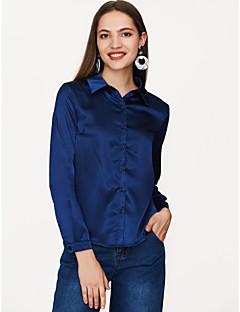 Χαμηλού Κόστους Γυναικείες Μπλούζες-Γυναικεία Πουκάμισο Βασικό Μονόχρωμο Κολάρο Πουκαμίσου