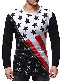 billige Herrers Mode Beklædning-Herre - Geometrisk Patchwork / Trykt mønster Basale T-shirt