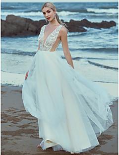 billiga A-linjeformade brudklänningar-A-linje V-hals Golvlång Spets / Tyll Bröllopsklänningar tillverkade med Bård / Spets av LAN TING BRIDE® / Vacker i svart