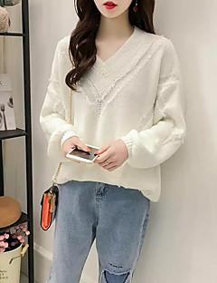 tanie Swetry damskie-damski sweter z długim rękawem - jednolity kolorowy dekolt