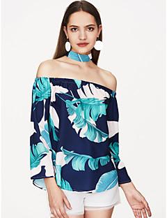 Χαμηλού Κόστους Off The Shoulders-Γυναικεία Μπλούζα Αργίες Φλοράλ Ώμοι Έξω σφικτό περιδέραιο Στάμπα Τροπικό φύλλο