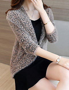baratos Suéteres de Mulher-cardigan de manga longa de fim de semana feminino - decote em v de cor sólida