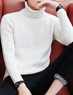 tanie Męskie swetry i swetry rozpinane-Męskie Codzienny Aktywny Solidne kolory Długi rękaw Regularny Pulower, Golf Jesień Ciemnoszary / Beżowy / Jasnoszary L / XL / XXL