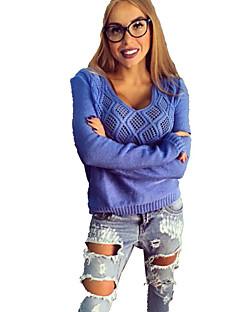baratos Suéteres de Mulher-Mulheres Manga Longa Pulôver - Sólido / Decote U