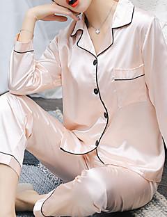 baratos Pijamas Femininos-Mulheres Decote Quadrado Conjunto Pijamas Sólido