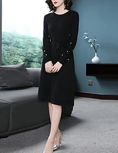 Χαμηλού Κόστους Γυναικεία Φορέματα-Γυναικεία Βασικό Φανάρι μανίκι Πλεκτά Φόρεμα - Μονόχρωμο, Χάντρες / Με Κορδόνια Ως το Γόνατο