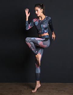 billiga Träning-, jogging- och yogakläder-Dam Front Ziper 3pcs Träningsoverall / Yoga Suit - Blå sporter Tryck Leggings / Bra Top / Magtröja Yoga, Gym, Träna Långärmad Sportkläder Andningsfunktion, Magkontroll, Sportflex Hög Elasisitet
