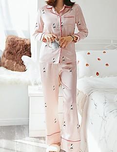 baratos Pijamas Femininos-Mulheres Decote Quadrado Conjunto Pijamas Geométrica