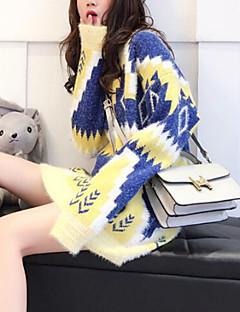 tanie Swetry damskie-damski długi długi sweter - kolor bloku / geometryczny okrągły dekolt