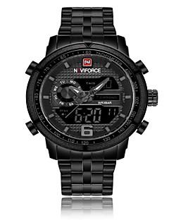 NAVIFORCE Pánské Sportovní hodinky Vojenské hodinky japonština Japonské  Quartz Nerez Černá   Stříbro 30 m Voděodolné Alarm Kalendář Analog -  Digitál Luxus ... bfedd4eaf15