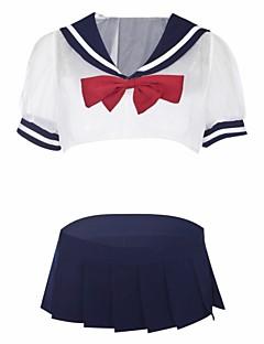 billige Nattøy til damer-Dame Uniformer og kinesiske kjoler / Dress Nattøy - Fargeblokk / Lapper, Blonde / Uthult