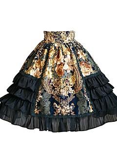 billiga Lolitamode-Gotisk Lolita Punk Lolita Klassisk Ruffle Dress Dam Kjolar Festklädsel Maskerad Cosplay Svart Sydd spets Knälång Halloweenkostymer