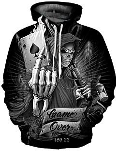 levne Pánské mikiny-Pánské Punk & Gothic / Přehnaný Větší velikosti Kalhoty - Geometrický Tisk Černá / Kulatý / Dlouhý rukáv / Podzim