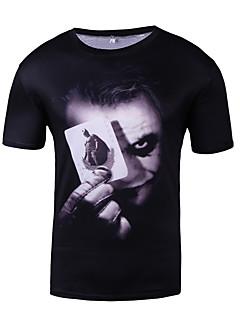 お買い得  肖像画-男性用 スポーツ Tシャツ ラウンドネック ポートレート コットン / 半袖