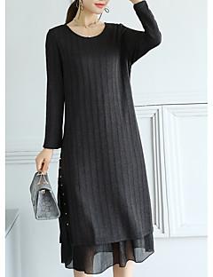 baratos Suéteres de Mulher-Mulheres Manga Longa Algodão Delgado Longo Pulôver - Sólido Algodão