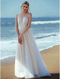 billiga A-linjeformade brudklänningar-A-linje V-hals Svepsläp Spets / Tyll Bröllopsklänningar tillverkade med Applikationsbroderi / Spets av LAN TING BRIDE®