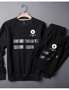 baratos Abrigos e Moletons Masculinos-Homens Básico activewear Set Listrado
