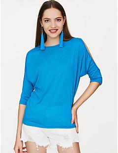 billige Overdele til damer-Dame - Ensfarvet Bomuld Plusstørrelser T-shirt / Udskæring