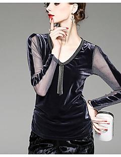 billige Bluse-V-hals Dame - Ensfarvet Bomuld Bluse