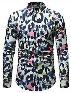 billige Herremote og klær-Skjorte Herre - Geometrisk / Leopard, Trykt mønster Grunnleggende