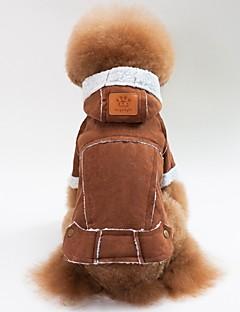 billiga Hundkläder-Hund / Katt Kappor / Jakke Hundkläder Enfärgad Kaffe / Brun / Röd Lammpäls Kostym För husdjur Unisex Ledigt / vardag / Uppvärmning