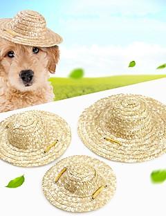 billiga Hundkläder-Gnagare / Hund / Kaniner Ornament Hundkläder Enfärgad Brun Halm rep Kostym För husdjur Dam Sport och utomhus / Huvudbonader