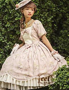 billiga Lolitamode-Söt Lolita Söt Lolita Spets Dam Klänningar Cosplay Blå / Rosa Puffärm Kortärmad Midi Halloweenkostymer