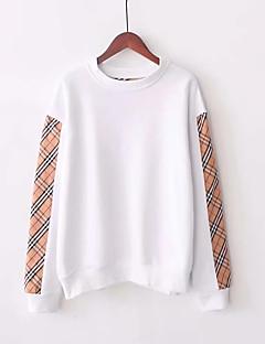 tanie Damskie bluzy z kapturem-damska bluza z długim rękawem - w paski / jednolity okrągły dekolt