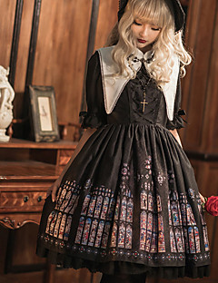 billiga Lolitamode-Gotisk Lolita Vintage Gotisk Lolita Dam Klänningar Cosplay Svart Poet Halvlång ärm Midi Halloweenkostymer