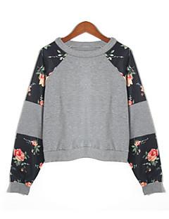 tanie Damskie bluzy z kapturem-Damskie Bawełna Bluza dresowa - Solidne kolory / Kolorowy blok