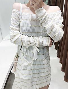 tanie Sweater Dresses-Damskie Sweter Sukienka - Prążki Nad kolano