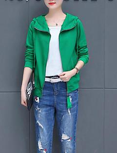 Χαμηλού Κόστους Γυναικεία πουλόβερ σε μεγάλα μεγέθη-Γυναικεία Βασικό Φούτερ με Κουκούλα - Μονόχρωμο