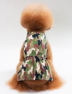 billiga Hundkläder-Hund / Katt Klänningar Hundkläder Kamuflasje Grön / Rosa Cotton Kostym För husdjur Dam Klänningar & Kjolar / Ledigt / vardag