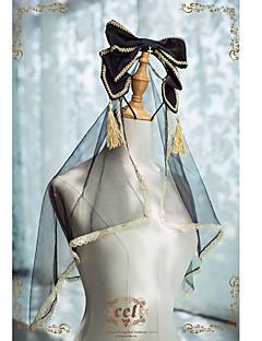 billiga Lolitaaccessoarer-Lolita Accessoarer Vintage Dam Svart lolita tillbehör Rosett Huvudbonad Tyll Polyster Halloweenkostymer