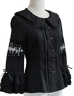 billiga Lolitamode-Söt Lolita Stilig Elegant Chiffong Dam Blus / Skjorta Cosplay Vit / Svart Flamma Ärm Långärmad Halloweenkostymer