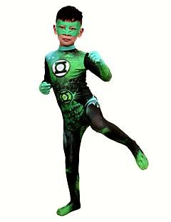 billige Zentai-Zentai Drakter / mønstret Zentai Drakter / Cosplay Kostumer Superhelter Zentai Cosplay-kostymer Grønn Printer Maske Spandex Lykra / Elastisk Unisex Jul / Halloween / Karneval