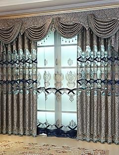 billige Mørkleggingsgardiner-gardiner gardiner Soverom Blomstret / Geometrisk Polyester Reaktivt Trykk / Blackout