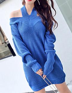 tanie Swetry damskie-Damskie Halter Luźna Długie Pulower Solidne kolory Długi rękaw