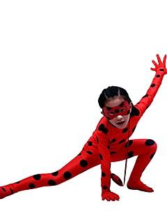 billige Zentai-Zentai Drakter / mønstret Zentai Drakter / Cosplay Kostumer Superhelter Zentai Cosplay-kostymer Rød Polkadotter / Printer Veske / Maske Spandex Lykra / Elastisk Unisex Jul / Halloween / Karneval