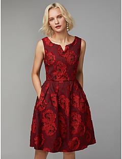 billiga Cocktailklänningar-A-linje V-slits Knälång Polyester / Cotton Cocktailfest Klänning med Plisserat av TS Couture®